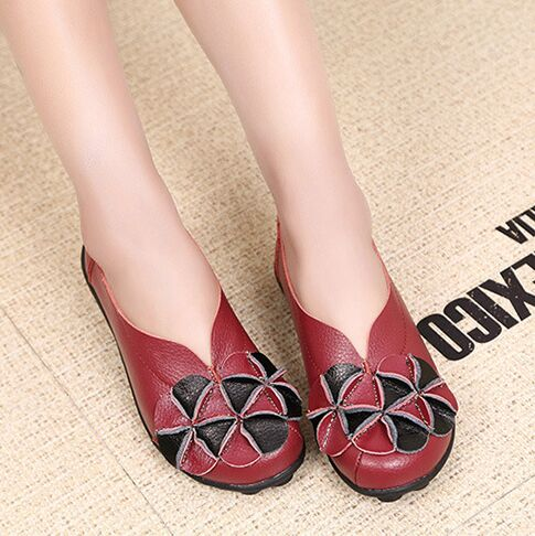 Rilihong real leather flower comfortable women's shoes