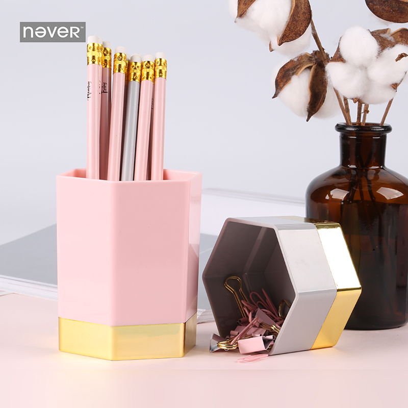 Never Pink Series Pen Holder Desk Stationery Holder Stationery Set Pencil Case Paper Binder Clips Organizer Office Accessories luxury desk organizer gold stainless steel pencil holder case pencil container office stationery holder hexagon desk accessories