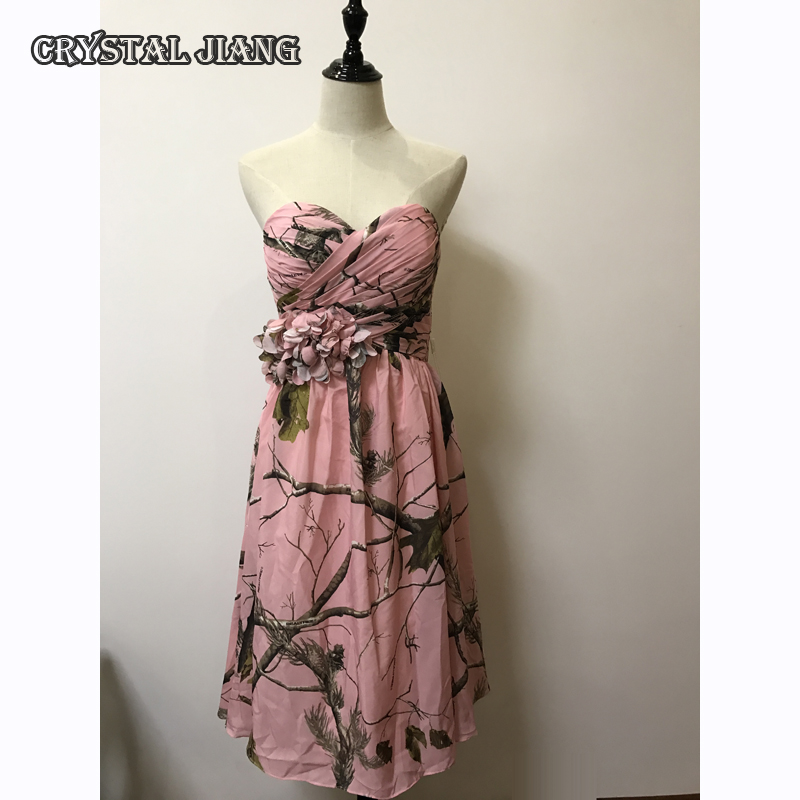 Pink Camo Bridesmaid Dresses Short Chiffon Floral Party Dress Printed Floral