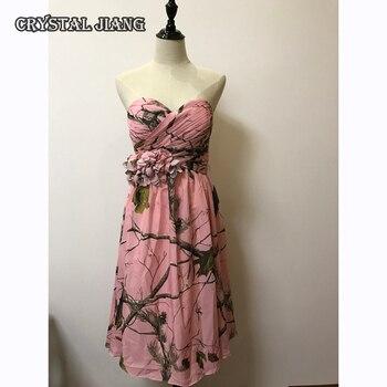 Pink Camo Bridesmaid Dresses Short Chiffon Floral Party Dress Printed Floral pink random floral printed jacket