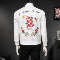 2018 Snake Embroidery Jacket Men Slim Fit Mens Bomber Jacket Vintage White Jakcket Outwear Men Spring