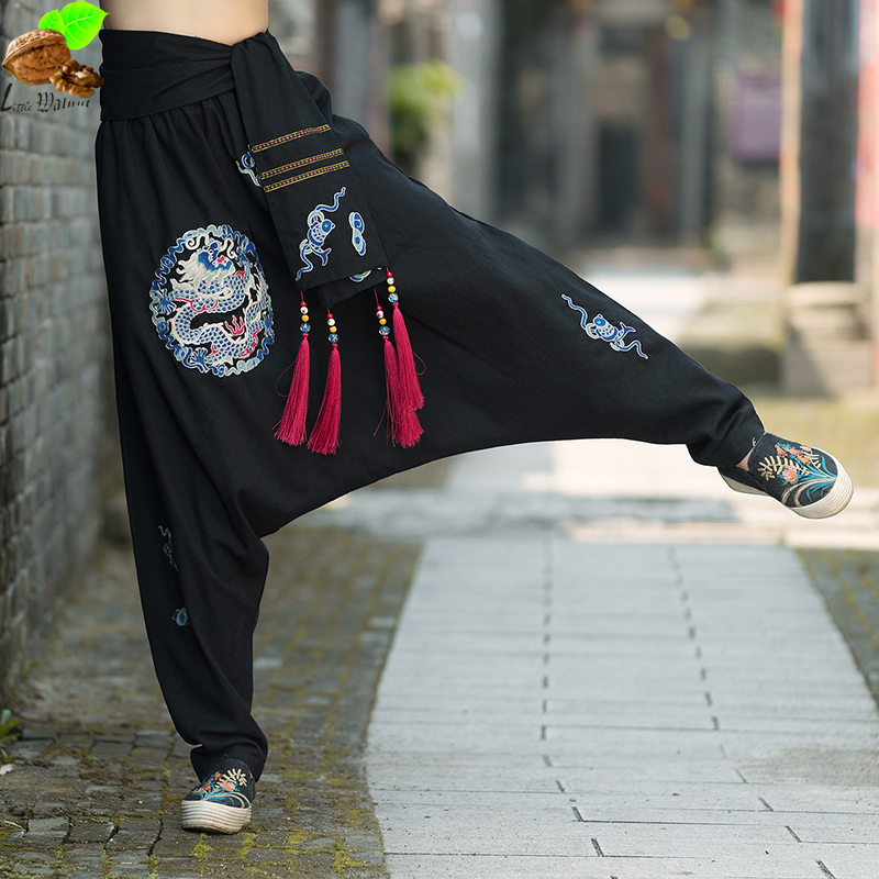 Women Autumn National Wind Casual Loose Embroidered Collapse Crotch   Pants   Small Trousers Embroidery   Wide     Leg     Pants   for Mori Girl