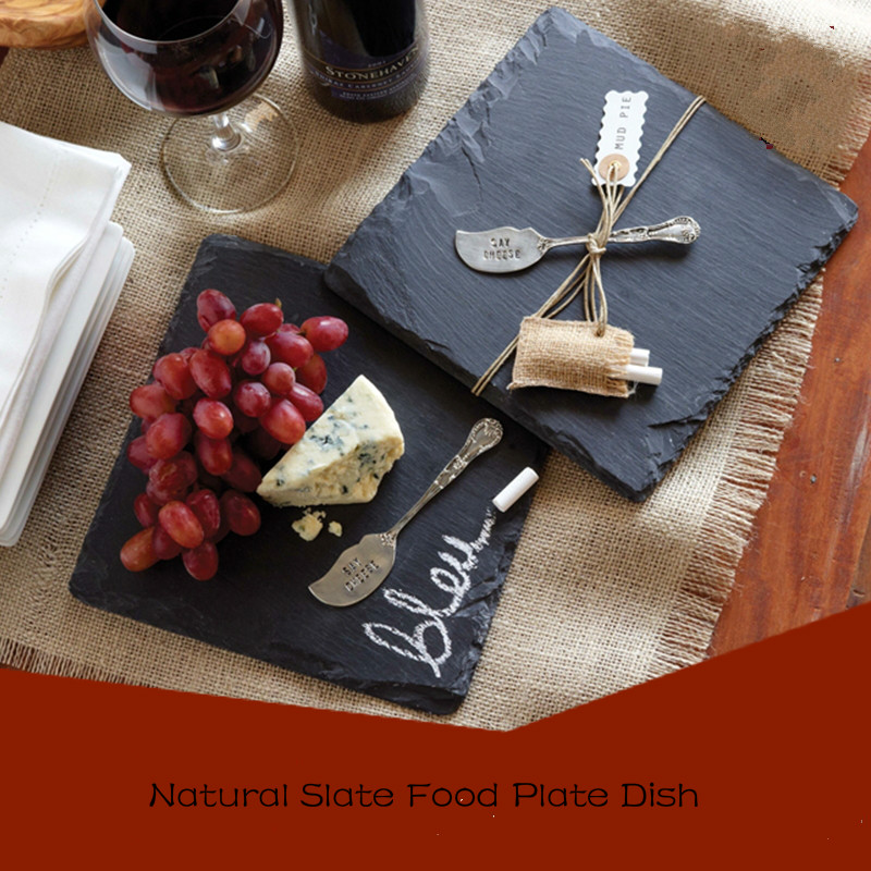 Natrual Slate Food Plate Round Square Bluestone Pizza Steak Pastry Fruit Dish Tray Heat Inslusation Pads Coaster