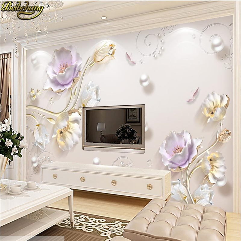 beibehang Jewelry embossed flowers Large mural wallpaper living room TV background wall paper KTV Bedroom sofa papel de parede beibehang customize universe star large mural bedroom living room tv background wallpaper minimalist 3d sky ceiling wallpaper
