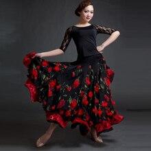 a0e29a35c Ballroom Dance Competition Dresses Women Three-Dimensional Flower Long  Skirt Female Modern Waltz Tango Big