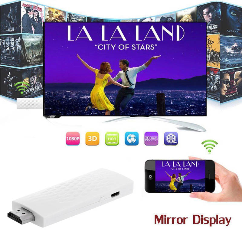 Wireless Wifi Airplay Phone Screen to HDMI TV Dongle Adapter Mirror 1080P Display for IOS SL@88