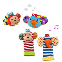 Baby Hand Rattles Toys Animal Socks Wrist Strap With Rattle Baby Foot Socks Cartoon Educational Best Gift 0-1 years old(China)