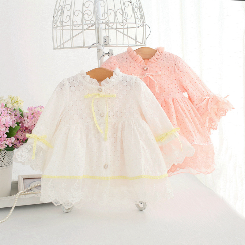 Spring Baby Girls Dress Long-Sleeve Embroidery Princess Party Birthday Dress Kids Clothes Children Dresses For 0-2T pink white winter 2016 long sleeve kids dresses for girls puff sleeve lace princess dress white pink 3 8 years old