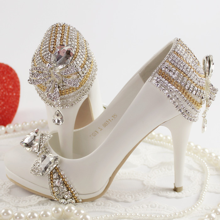 NEW high heeled rhinestone bride wedding shoes white princess crystal single shoes female party pumps free