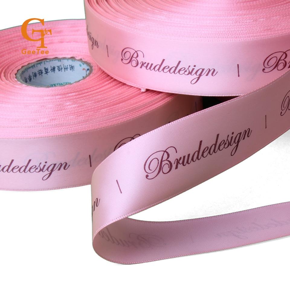 Custom Logo Silk Satin Ribbon Tape Printing,customized Brand Name Hair Bundle's Ribbon Tape/ Kraft Box Gift Packaging Ribbon