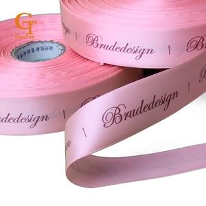 Logotipo personalizado fita de impressão de fita de cetim de seda, marca personalizada pacote cabelo da fita/fita de Kraft caixa de presente fita de embalagem