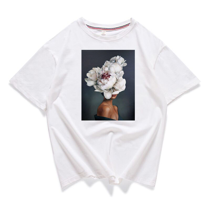 95% Cotton Bloom Flower Feather Women T -shirt Summer Short Sleeve Round Neck Harajuku Printing Tee Casual Fashion Female Tops 4