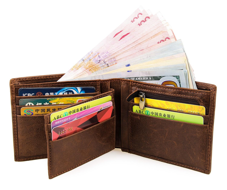 New 100 Genuine Leather Short Wallets Male Wallets Large Capacity Purses Cards Wallet Black Men Purses