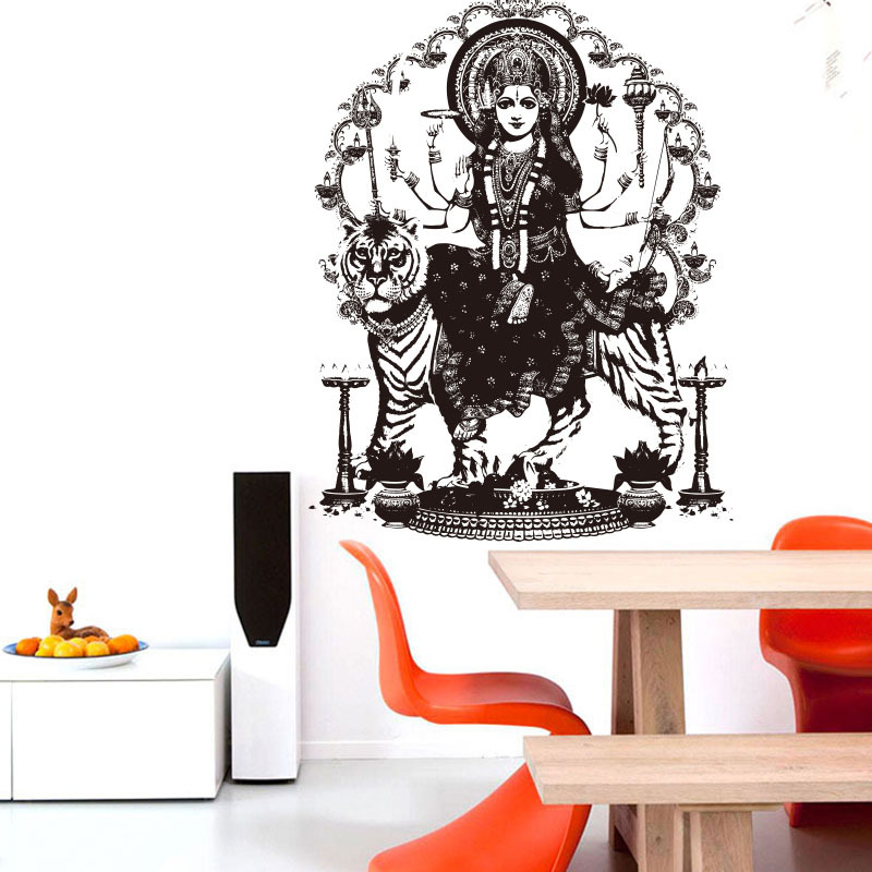 AWOO Premium India Goddess Tiger Wall Stickers Buddha Room Sofa Dining Religion Decor Bedroom Decals
