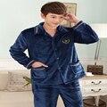 Outono 2016 Quente Grossa Homens Sleepwear Pijama de Algodão Pijamas de Flanela Dos Homens Profissionais do Sexo Masculino Salão Sleepwear Roupão de banho de Algodão Homens