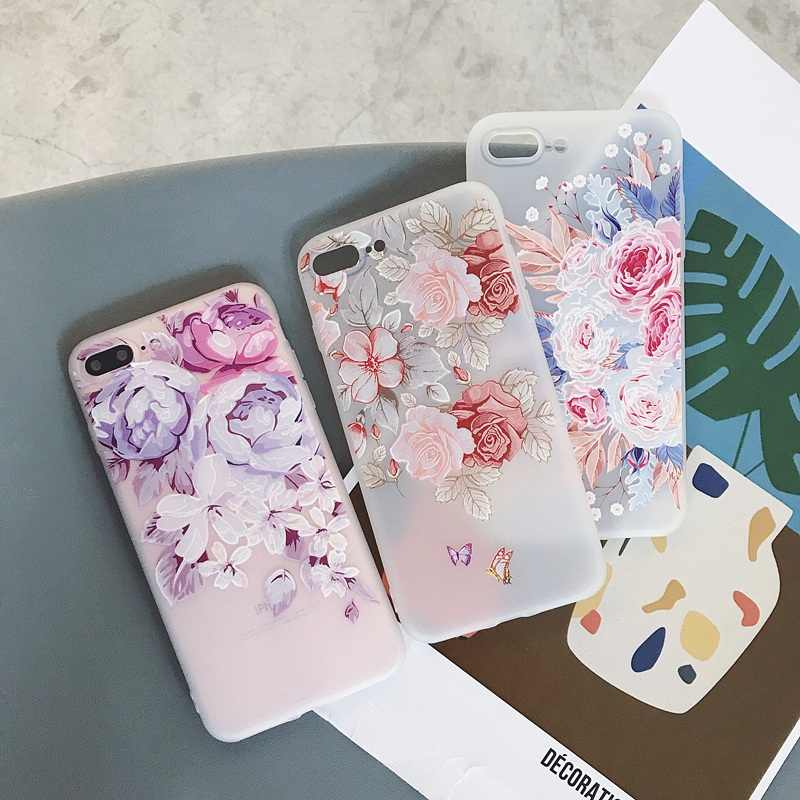 Luxury Cute Cartoon Floral Soft Phone Cases For iPhone 7 Back Cover Coque Funda For iPhone X XS MAX XR 6S 6 S 7 8 Plus Capa