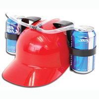 Funny Beer Soda Can Holder Cap Straw Drinking Helmet Hat For Holiday Party Game Free Glasses