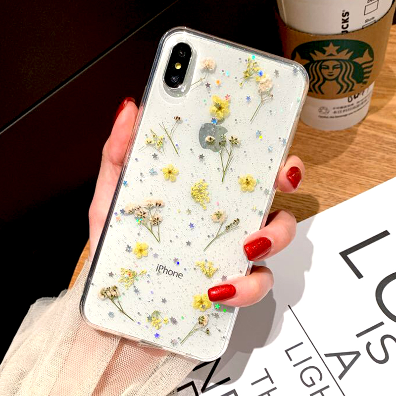 Real Dried Flower Case For iPhone 7 8 Plus XS Max XR XS X 6 6SCase Handmade Clear Soft TPU Fresh Flower Phone Back Cover Fundas (4)