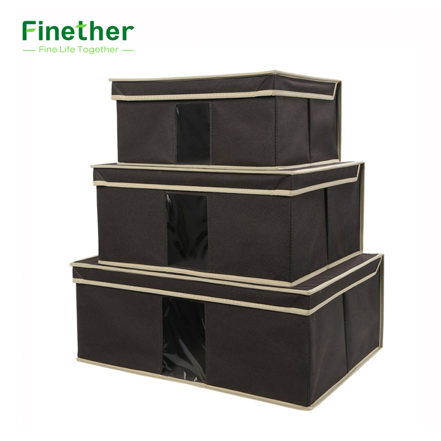 Finether Set Of 3 Foldable Fabric Storage Box Case With Lid And See Through  Window
