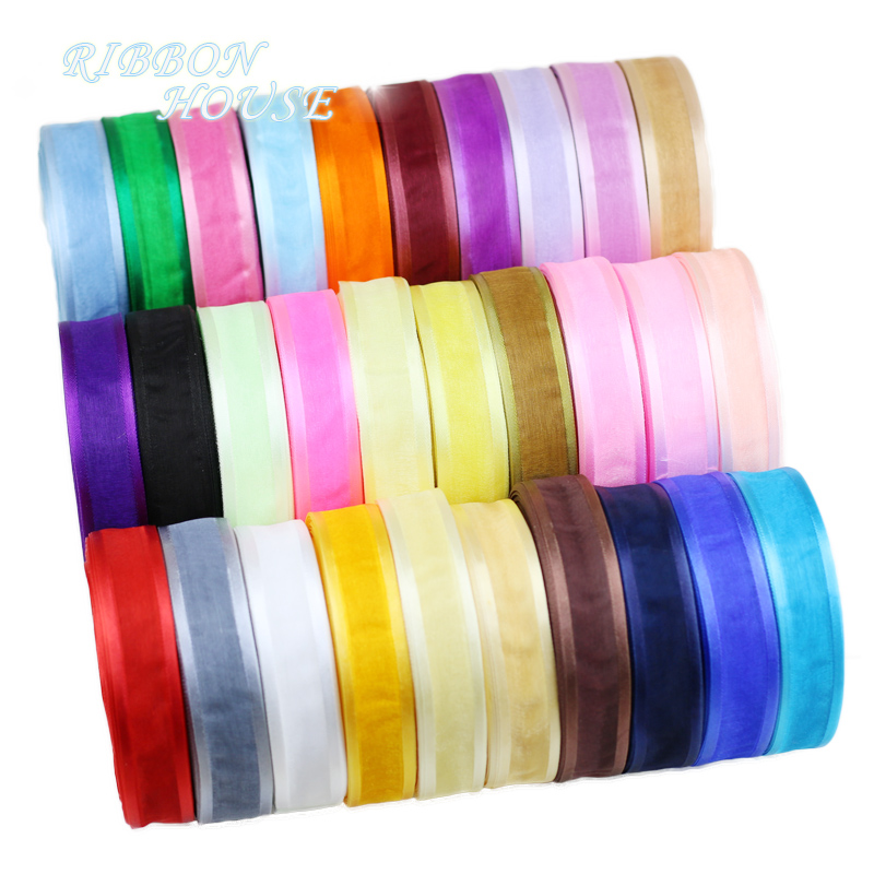 (<font><b>50</b></font> yards/roll) Organza ribbon Broadside wholesale gift wrapping decoration ribbons (20/25/40mm) image