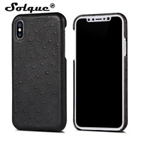 Solque Genuine Leather Case For IPhone 8 Cell Phone Luxury Real Leather Slim Hard Shell Cover