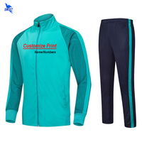 Custom Winter Thermal Soccer Jerseys Men Women Kids Football Tracksuit Kits Fitness Sets Running Training Suit Zipper Sportswear