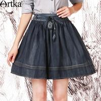 ARTKA Women's Summer New Vintage Embroidery A Line Mini Skirt Empire Waist Cutton Denim Skirt QN10056X