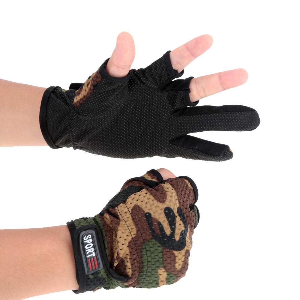 New Camouflage Winter Fishing Gloves 3 Fingers Cut Outdoor Sports
