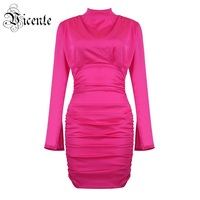 Vicente 2019 New Trendy Hot Pink Mini Dress Draped Design Long Sleeves Wholesale Celebrity Party Club Satin Dress