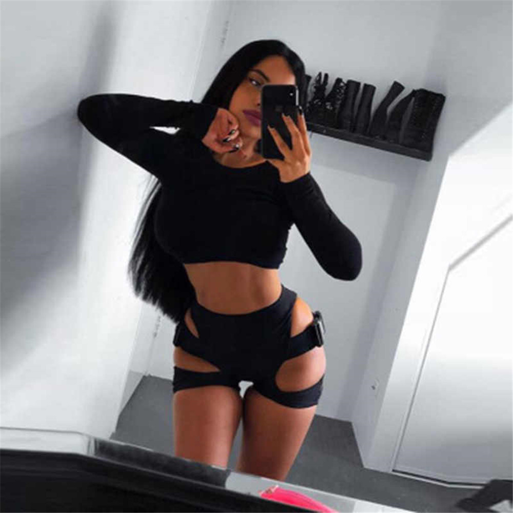 Hot Girls Sexy Cut Out High Waist Buckle Biker   Shorts   Womens Stretchy Leopard Print Slim Sporty Buckle   Shorts   Wholesale