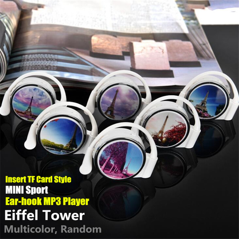 300p Sport MINI Ear-hook MP3 Player External Inserted TF Card,(no TF Card),Eiffel Tower Plug-in Style Earplug Student MP3 Player