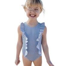 2019 Swimwear For Girls Toddler Kids Baby Girl Swimsuit Ruffles Bathing Suit Bikini Striped Swimwear F325 bikini baby 2pcs newborn ruffles clothes set kids baby girls floral tankini bikini suit swimsuit swimwear bathing swimming1 5y