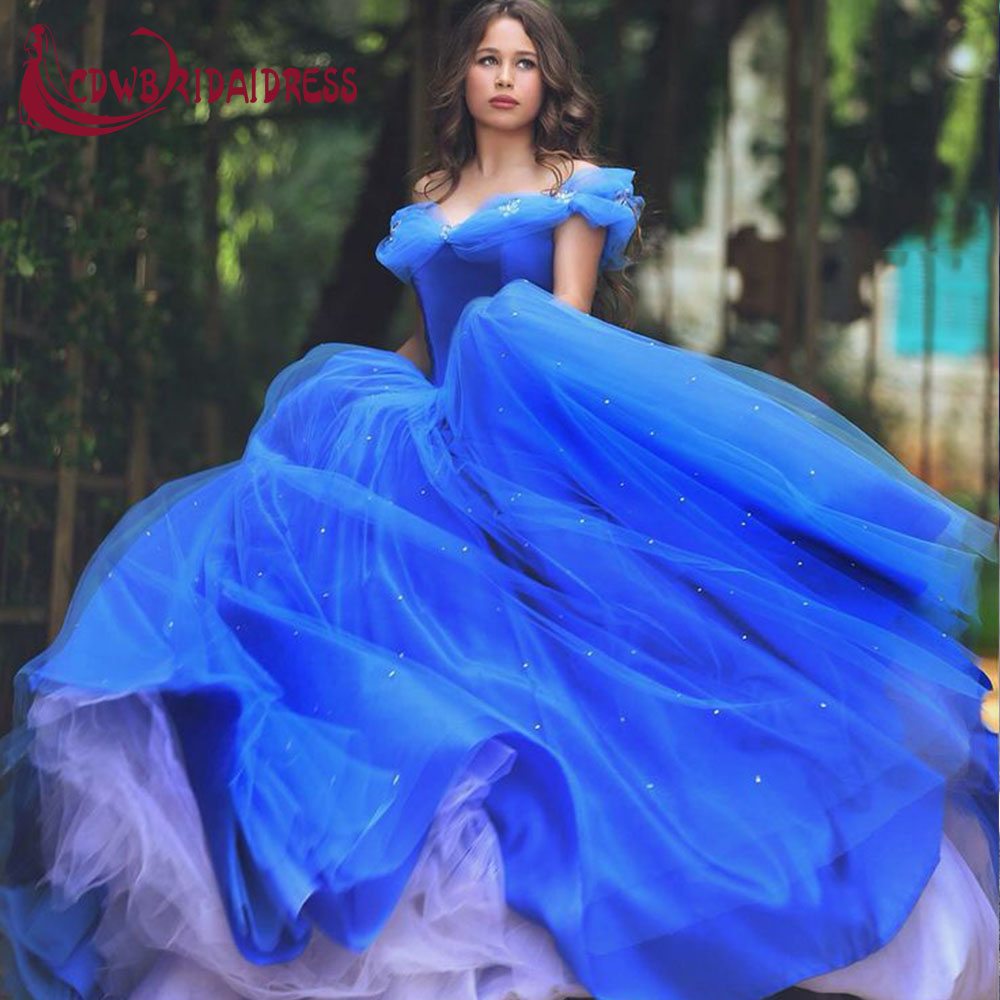 royal blue deluxe cinderella prinzessin prom kleider 2017 tüll ballkleid  quinceanera kleider mit perlen reißverschluss funkelnden rock