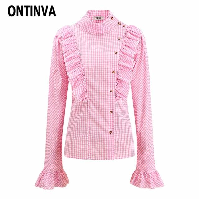 827e35ffc7 Różowy Wzburzyć Przytnij Bluzka Eleganckie Kobiety Plus Rozmiar 3XL  Plecionka Blusas Retro Praca Biurowa Panie Z