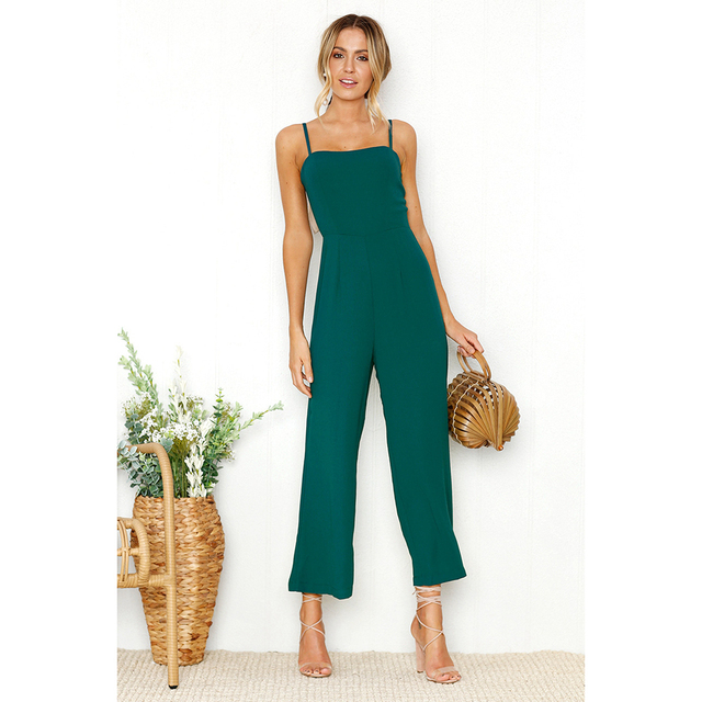 0a54a60a02e5 2018 Summer Jumpsuit Women Sexy Straps Zipper Bodysuit Ladies Long Beach  Holiday Playsuit New Black Green Overalls Body Femme