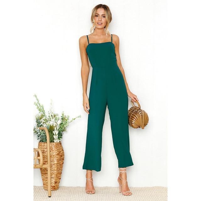 a879c007dd7 2018 Summer Jumpsuit Women Sexy Straps Zipper Bodysuit Ladies Long Beach  Holiday Playsuit New Black Green