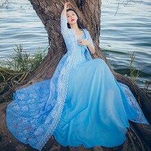 Лето Новое Женское цветочное вышитое кружевное платье из двух частей женское синее Макси длинное пляжное платье