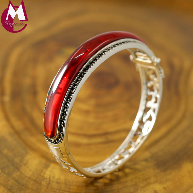 69*8mm Big Red Garnet Hollow Design Open Bangles For Women Real Sterling Silver 925 Jewelry Boho Fine Heart harms Bracelet femme цена