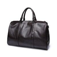 Moda dos homens de couro bolsa de viagem saco da bagagem do duffle do vintage bolsas grandes homens de negócios com alça de ombro viagens hommes sac