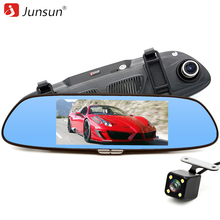 """Junsun 3G 7 """"voiture Caméra DVR GPS Bluetooth Double Lentille Rétroviseur Enregistreur Vidéo FHD 1080 P Automobile DVR Miroir Dash cam"""