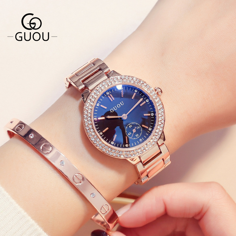 Luxury Brand Women Quartz Watches Rose Gold Steel band Business Casual Lady Clock Wrist watch Gift Reloj Mujer Montre Femme GUOU geneva brand fashion rose gold quartz watch luxury rhinestone watch women watches full steel watch hour montre homme reloj mujer
