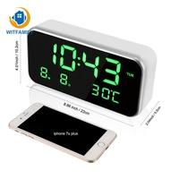 LED Digital Large Number Display Electronic Nixie Clock USB charge Alarm Clock Mirror Watch Temperature Home Decoration