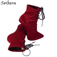 Sorbern 14Cm 16Cm Stretched Satin Ankle Boots Women Ballet High Heels Pointy Toes Shoes Ladies Shoes With Heels Boots Females