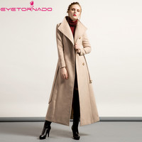 Women single breasted belted long wool coat winter lapel casual work solid beige cashmere thick wool coats outwear plus size