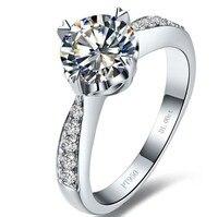 18 k vàng trắng 1 ct hình trái tim wedding ring đối với lady rắn bạc Kim Cương tổng hợp vòng đối với phụ nữ (BB)