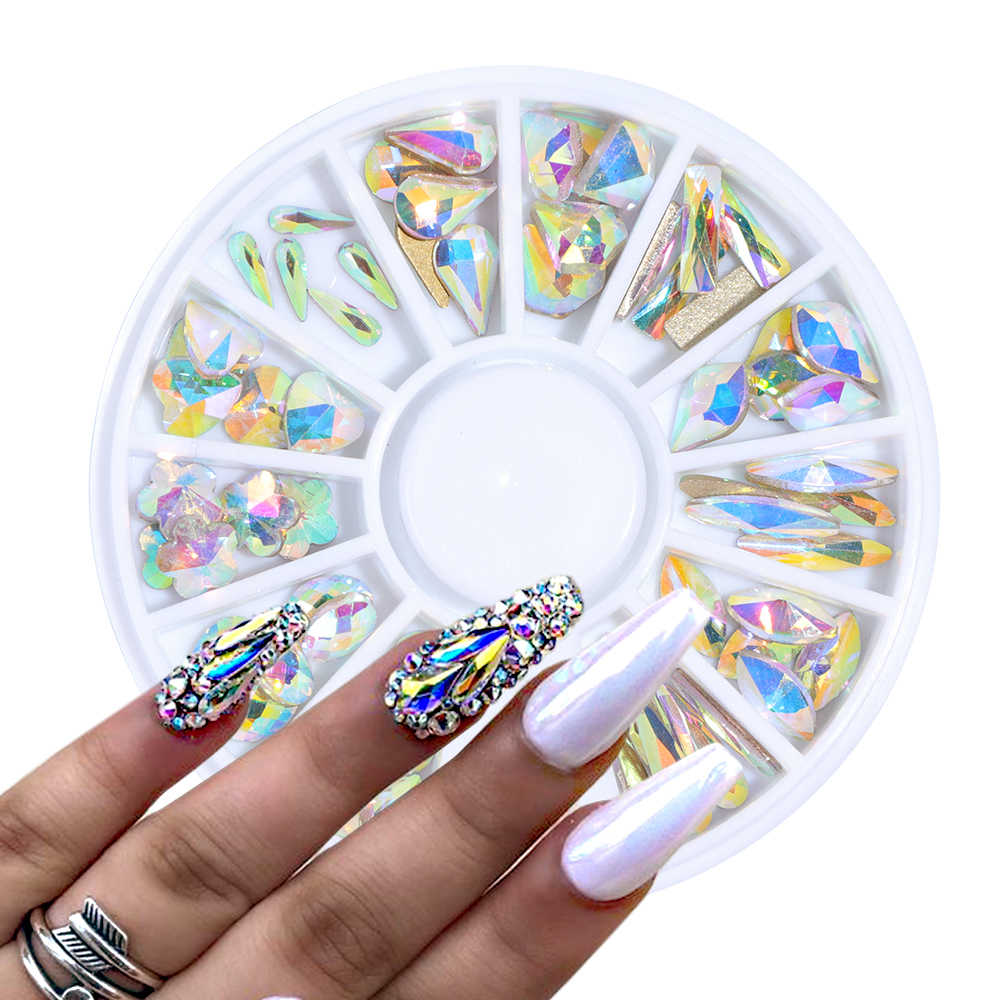 Crystal AB Nail Gems Rhinestone for Nail Art Glass Wheel Geometry Blossom Jewelry Diamond Nail Stone Decoration Manicure BE694-1