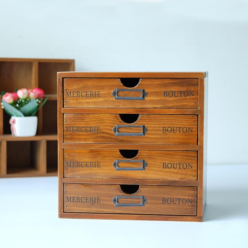 Rétro boîte de rangement en bois étagères boîtes en bois pour bijoux conteneur organisateur étagères en bois étagère avec tiroirs-in Boîtes de rangement et bacs from Maison & Animalerie    3