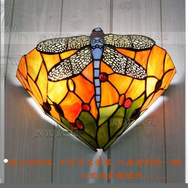 12 дюймов Тиффани Средиземноморский Стрекоза настенный светильник ресторан коридор гостиная кровать-освещение