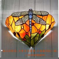 12 inch Tiffany Mediterranean Dragonfly wall lamp restaurant corridor living room bed lighting