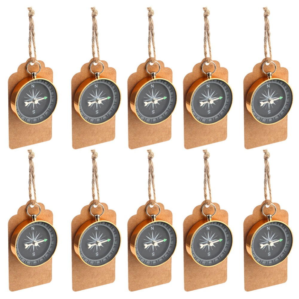 Ourwarm 50pcs Wedding Souvenirs Anniversary Gift Tags Labels with Compass Gift Party Favors Hanging Ornament Supplies
